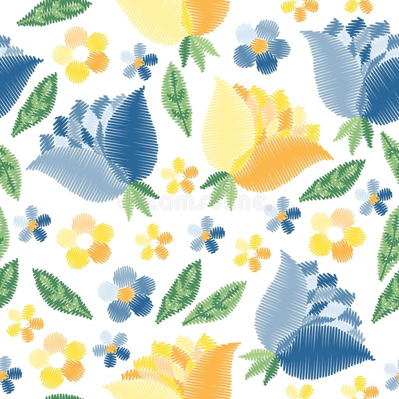 Modelo inconsútil del bordado con las flores azules y amarillas en el fondo blanco Diseño de la moda para la tela, materia textil stock de ilustración