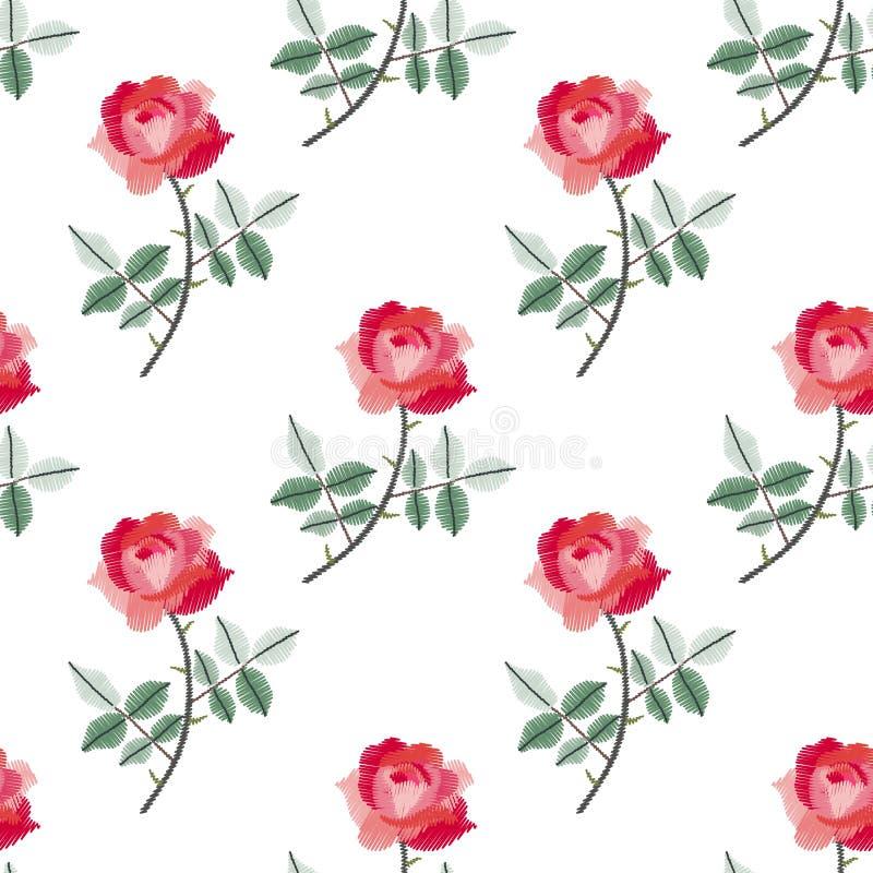 Modelo inconsútil del bordado con las rosas rojas hermosas en el fondo blanco Impresión de la moda con las flores libre illustration