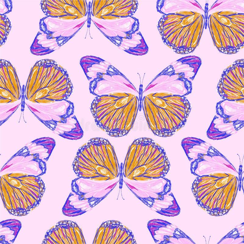 Modelo inconsútil del bordado dulce de mariposas coloridas El vector bordó el diseño para llevar de la moda, la tela, papel pinta ilustración del vector