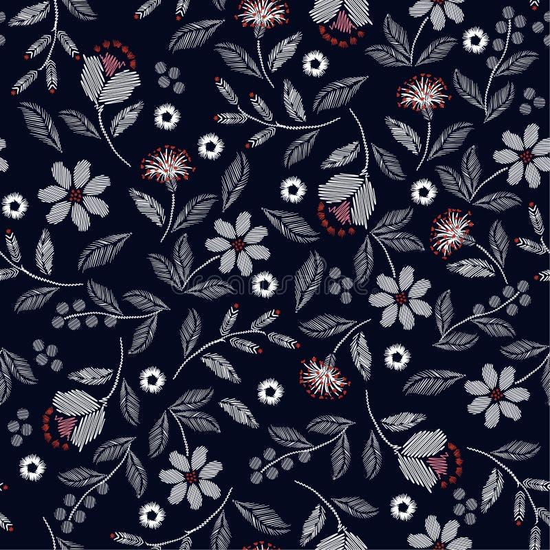 Modelo inconsútil del bordado hermoso con el ejemplo delicado hermoso de la impresión del vector de las flores salvajes ilustración del vector