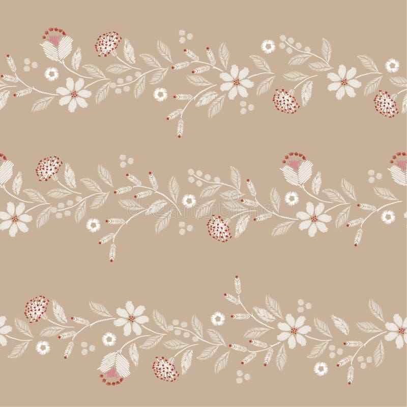 Modelo inconsútil del bordado retro con el ejemplo delicado hermoso de la impresión del vector de las flores salvajes ilustración del vector