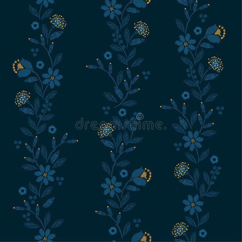 Modelo inconsútil del bordado retro de la raya vertical con la impresión delicada hermosa del vector de las flores salvajes stock de ilustración