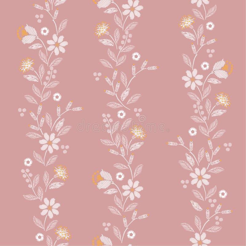 Modelo inconsútil del bordado vertical dulce con el diseño delicado hermoso del ejemplo de la impresión del vector de las flores  stock de ilustración