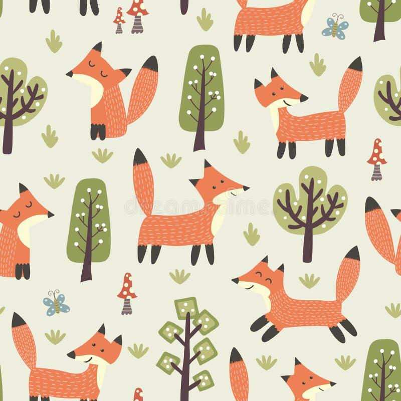 Modelo inconsútil del bosque con los pequeños zorros y árboles lindos ilustración del vector