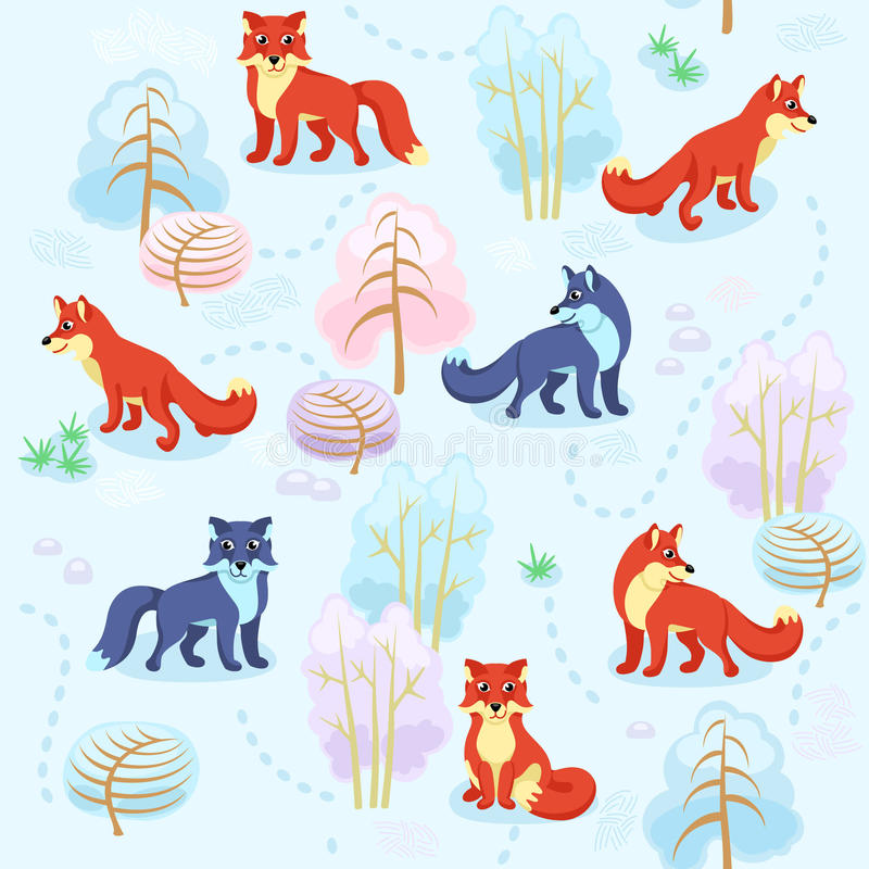 Modelo inconsútil del bosque del invierno con los zorros entre los árboles stock de ilustración