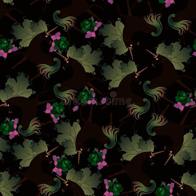 Modelo inconsútil del bosque mágico de la noche Unicornios negros con las melenas en la forma de las hojas verdes del viburnum Im ilustración del vector