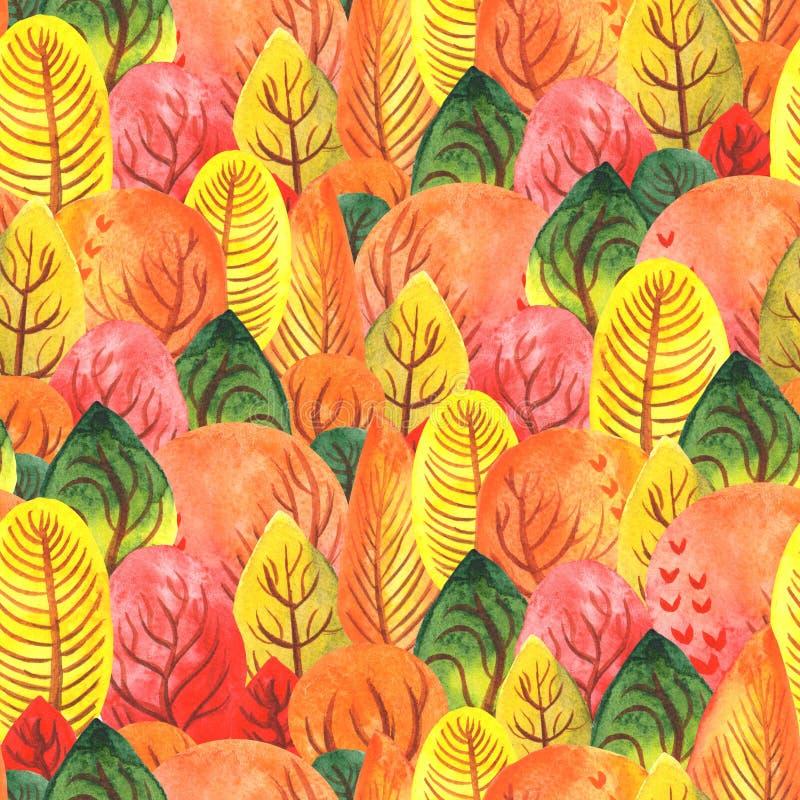 Modelo inconsútil del bosque del otoño de la acuarela del ejemplo el árbol multicolor corona verde amarillo-naranja rojo ilustración del vector