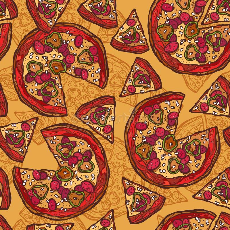 Modelo inconsútil del bosquejo de la pizza ilustración del vector