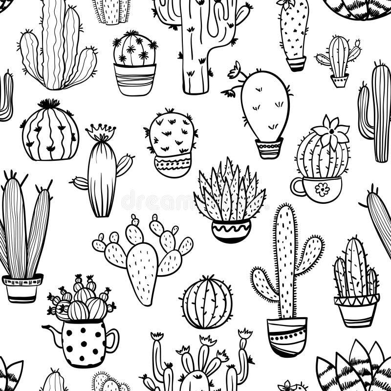 Modelo inconsútil del bosquejo del cactus ilustración del vector
