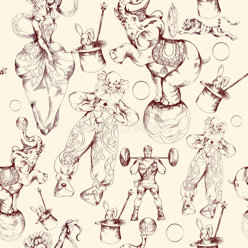 Modelo inconsútil del bosquejo del garabato del circo libre illustration