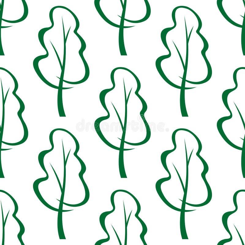 Modelo inconsútil del bosquejo verde estilizado de los árboles libre illustration