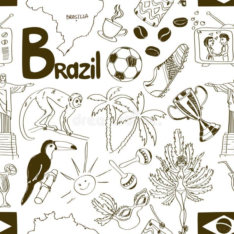 Modelo inconsútil del Brasil del bosquejo ilustración del vector