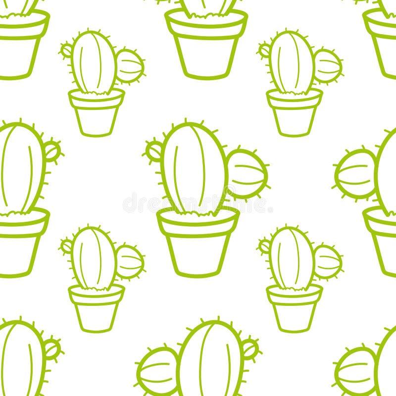 Modelo inconsútil del cactus con el ejemplo a mano del vector del fondo de los cactus fotos de archivo