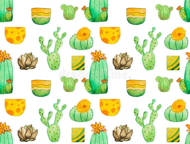 Modelo inconsútil del cactus de la acuarela ilustración del vector