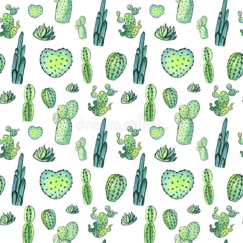 Modelo inconsútil del cactus de la acuarela Succulents vibrantes coloridos del cactus ilustración del vector