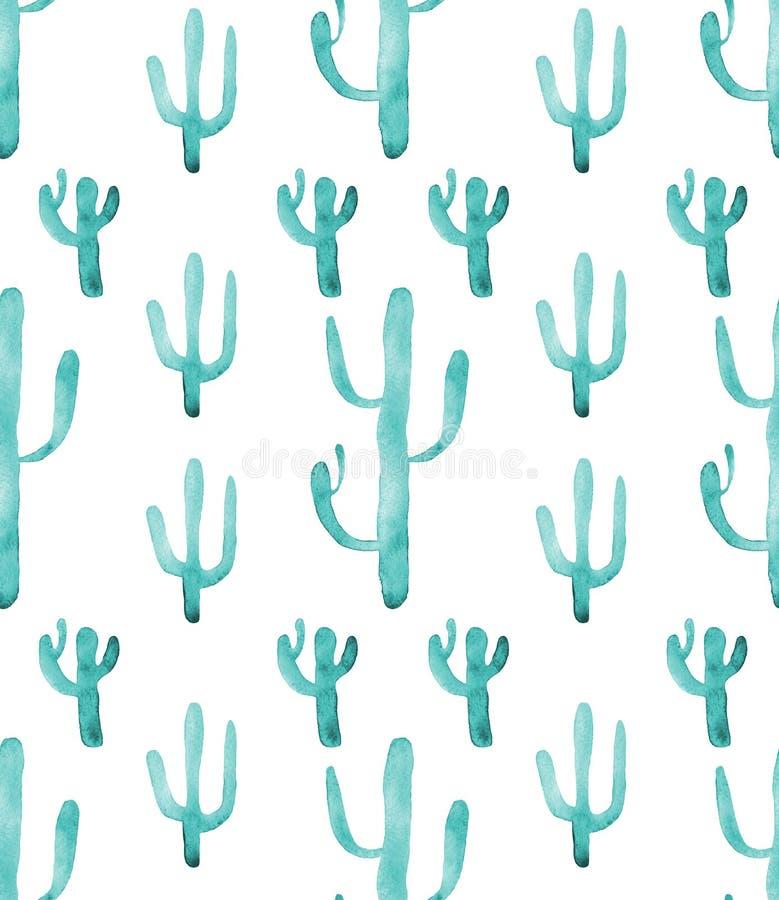 Modelo inconsútil del cactus de la acuarela Succulents vibrantes coloridos del cactus de la turquesa ilustración del vector