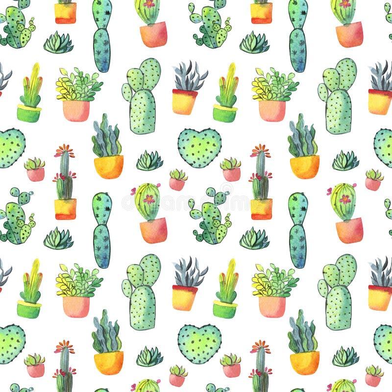Modelo inconsútil del cactus de la acuarela Cactus vibrante colorido en potes y otros succulents libre illustration