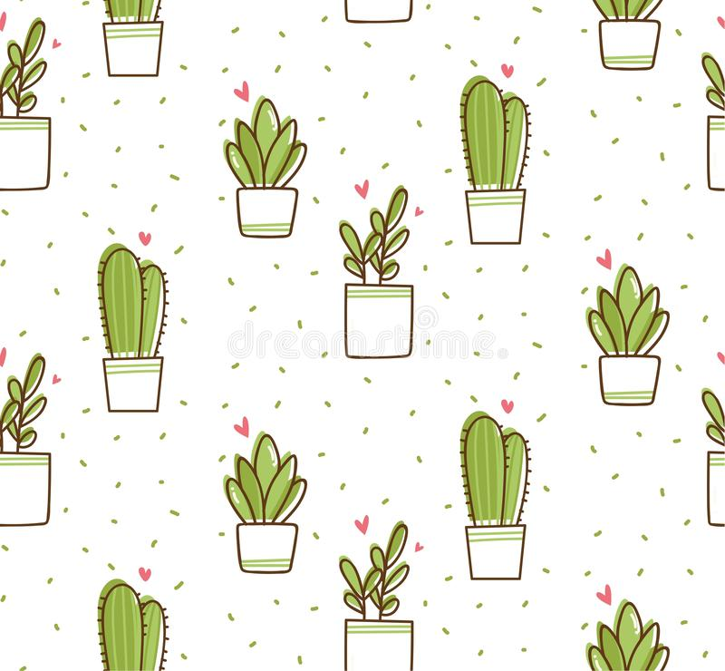 Modelo inconsútil del cactus en el ejemplo del vector del estilo del garabato del kawaii libre illustration