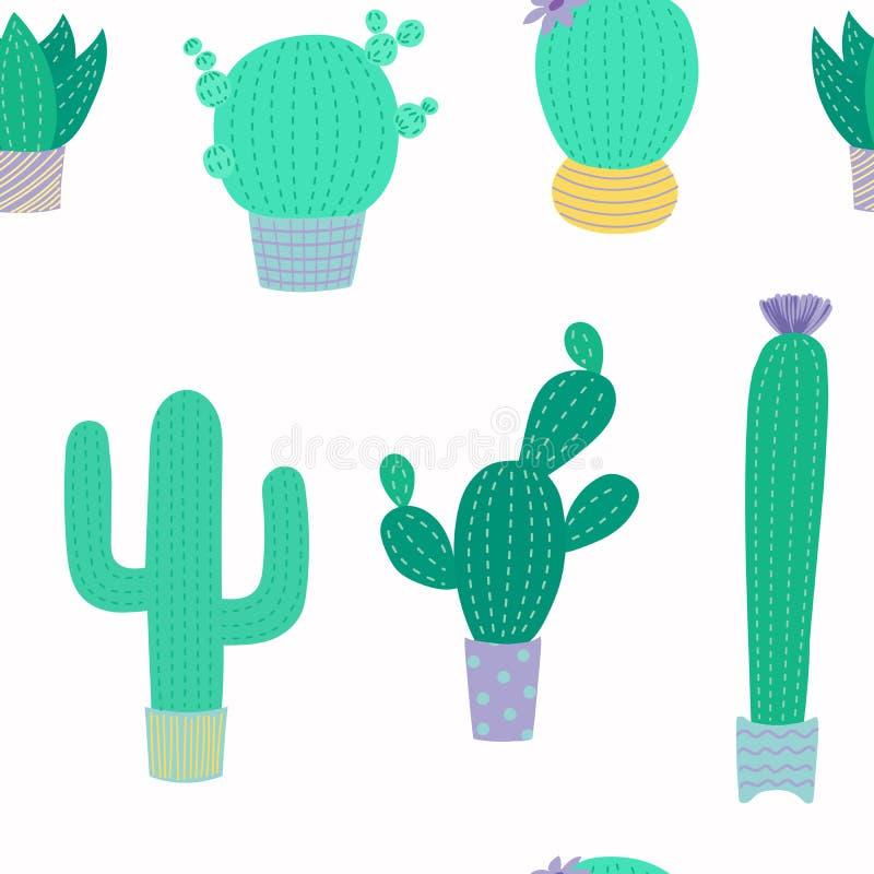 Modelo inconsútil del cactus lindo stock de ilustración