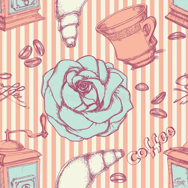 Modelo inconsútil del café ilustración del vector