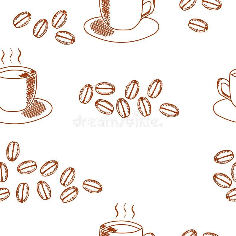 Modelo inconsútil del café con la taza de café y los granos de café ilustración del vector