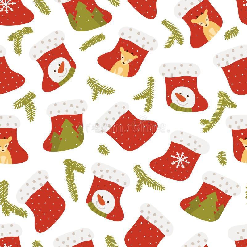 Modelo inconsútil del calcetín de la Navidad en el fondo blanco A mano Ilustraci?n del vector libre illustration