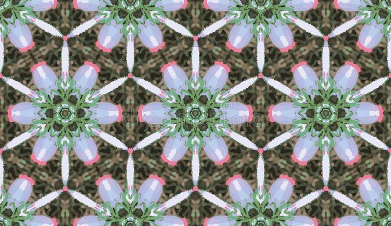 Modelo inconsútil del caleidoscopio colorido abstracto Fondo floral geométrico del vector Muestra gráfica de la mandala del azule stock de ilustración