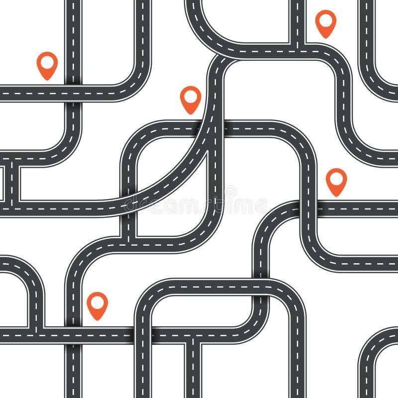 Modelo inconsútil del camino del vector Fondo de la trayectoria de la visión superior Plan urbano del mapa Ejemplo de la carreter libre illustration