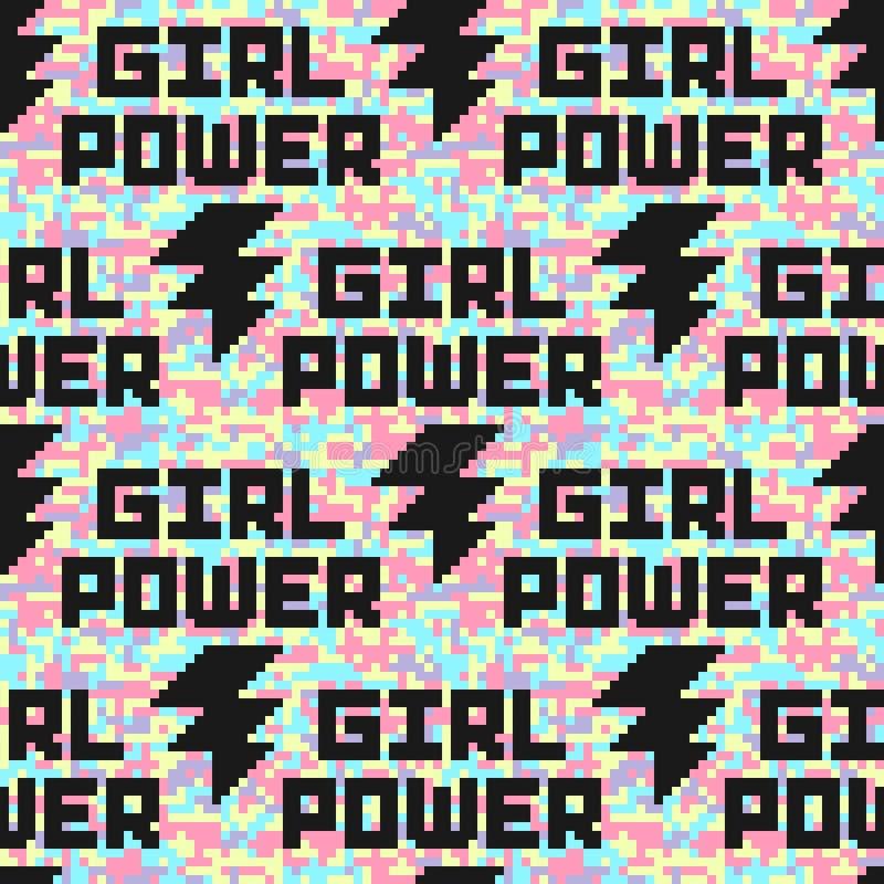 Modelo inconsútil del camuflaje digital olográfico con cita del poder de la muchacha Lema feminista libre illustration