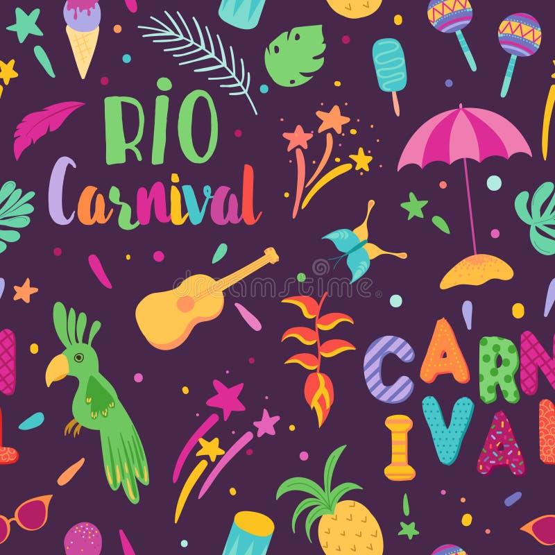 Modelo inconsútil del carnaval brasileño El Brasil Samba Carnival Background con el tucán y los elementos tropicales stock de ilustración