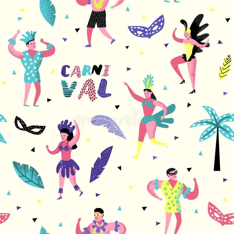 Modelo inconsútil del carnaval con la gente del carácter del baile Fondo del partido de Masqeurade con las máscaras libre illustration