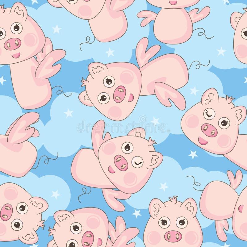 Modelo inconsútil del cerdo feliz libre del ángulo libre illustration