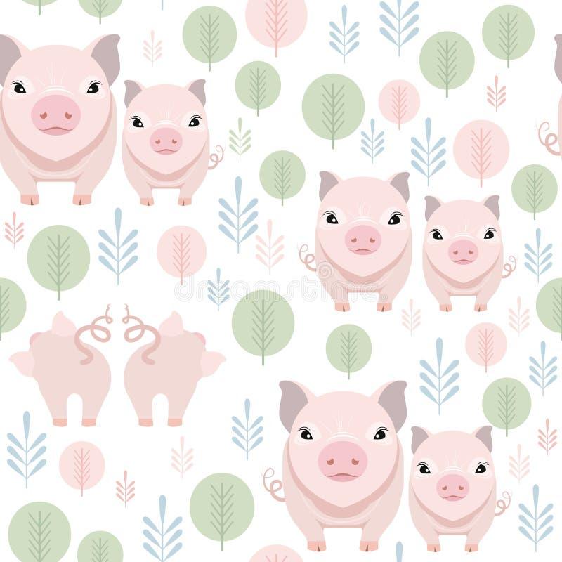 Modelo inconsútil del cerdo lindo en el fondo blanco Ejemplo guarro feliz del vector de la historieta ilustración del vector
