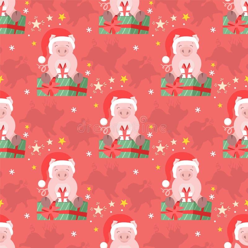Modelo inconsútil del cerdo lindo del invierno para la tela, tarjeta, papel Ejemplo guarro del vector del niño de la Navidad libre illustration