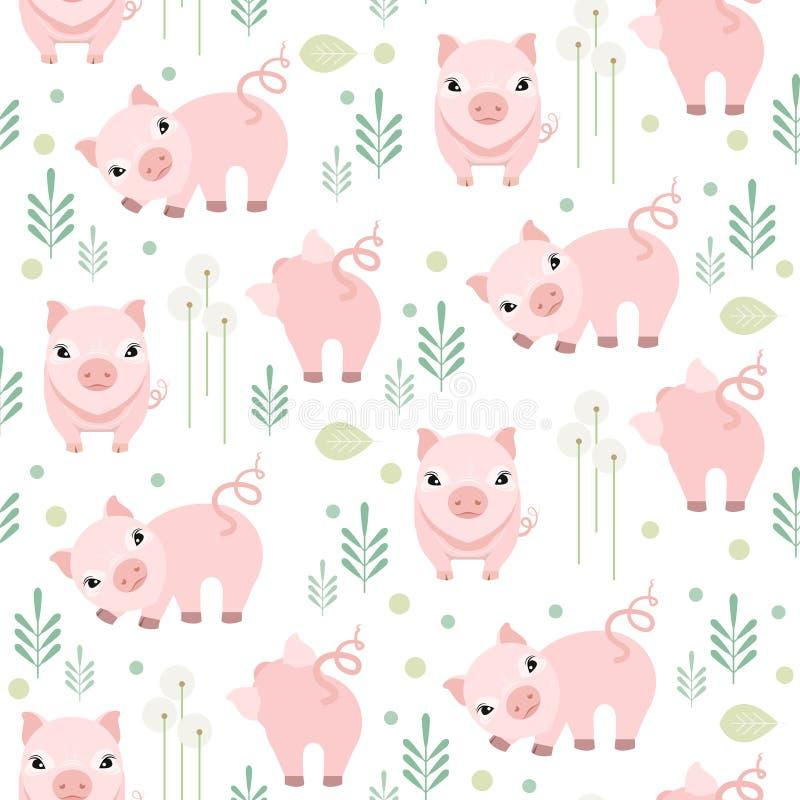 Modelo inconsútil del cerdo lindo Tela guarra del niño stock de ilustración