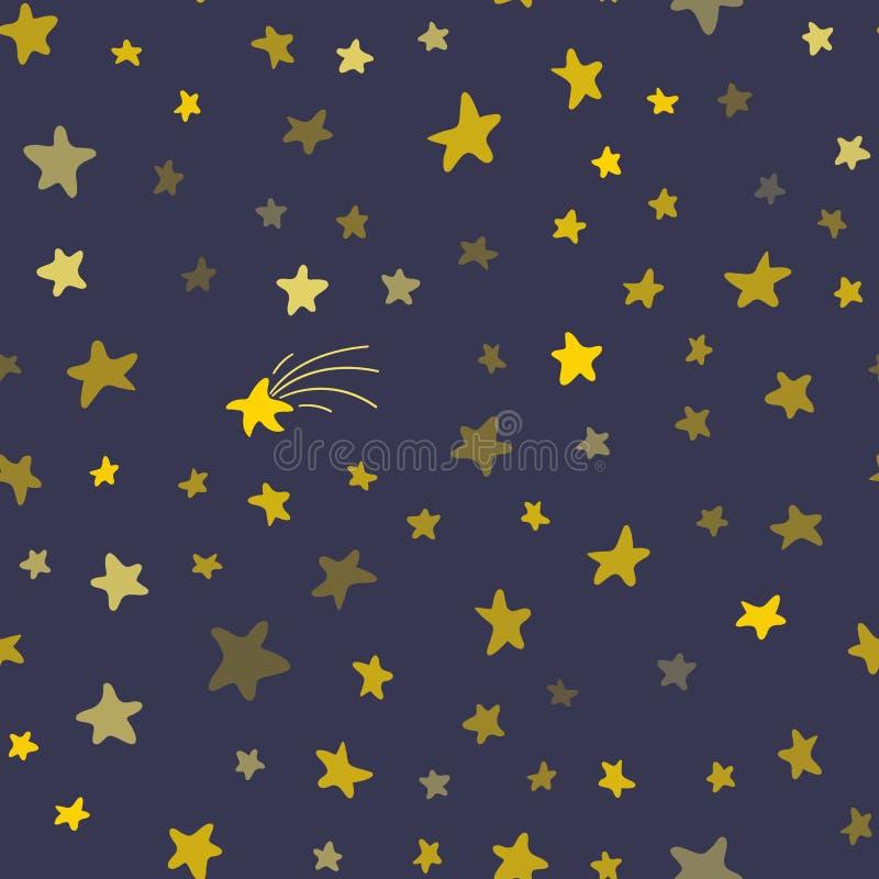 Modelo inconsútil del cielo nocturno stock de ilustración