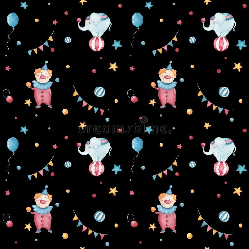 Modelo inconsútil del circo retro de la acuarela Fondo exhausto del vintage de la mano con los objetos del carnaval: balones de a stock de ilustración