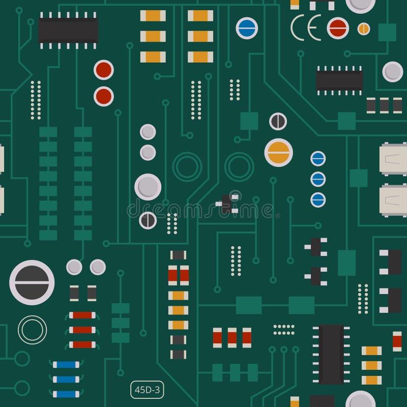 Modelo inconsútil del circuito electrónico con los diodos, microprocesadores ilustración del vector