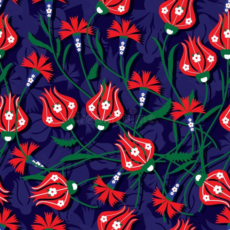 Modelo inconsútil del clavel del tulipán del otomano stock de ilustración