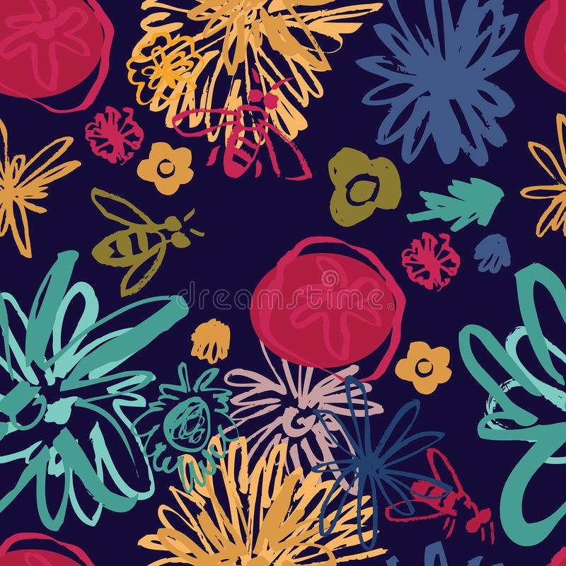 Modelo inconsútil del collage floral abstracto stock de ilustración
