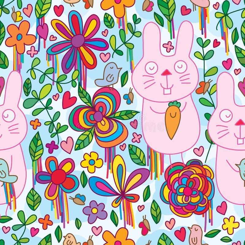 Modelo inconsútil del color de la flor salvaje del pájaro del conejo stock de ilustración