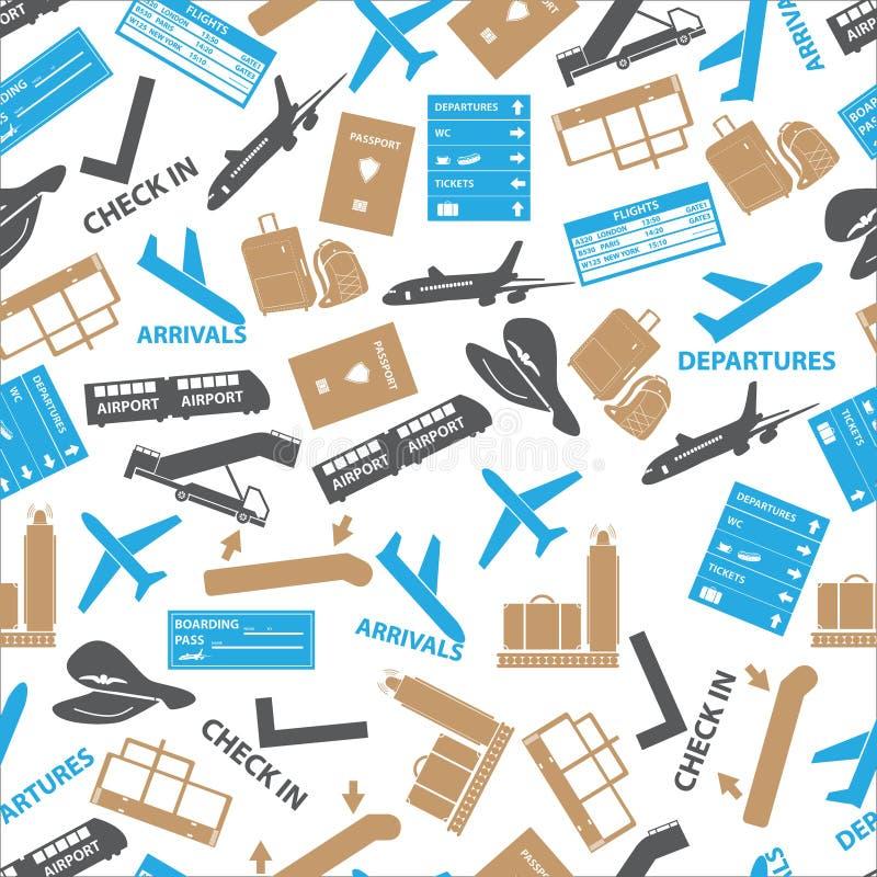 Modelo inconsútil del color de los iconos del aeropuerto stock de ilustración