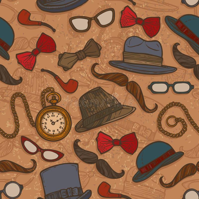 Modelo inconsútil del color de los sombreros y de los vidrios del vintage libre illustration