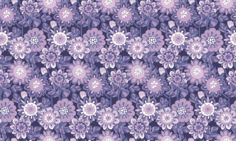 Modelo inconsútil del color floral del flor stock de ilustración