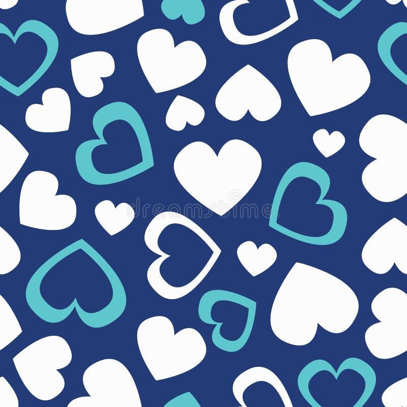 Modelo inconsútil del color lindo del vintage del vector con los corazones blancos y azules, lleno y las siluetas Golpeteo incons stock de ilustración