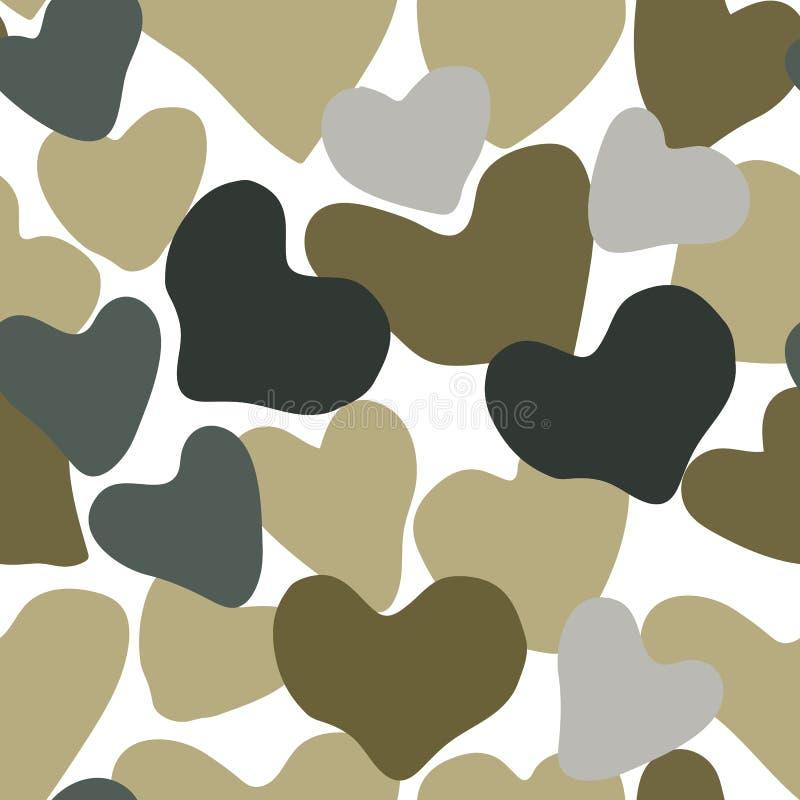 Modelo inconsútil del color verde y gris del camuflaje del corazón del vector Extracto de color caqui del como de la repetición a stock de ilustración
