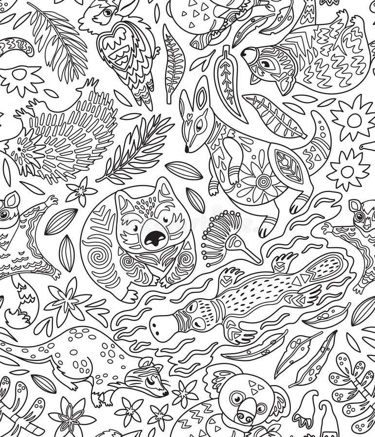 Modelo inconsútil del contorno con los animales australianos decorativos Ilustración del vector libre illustration