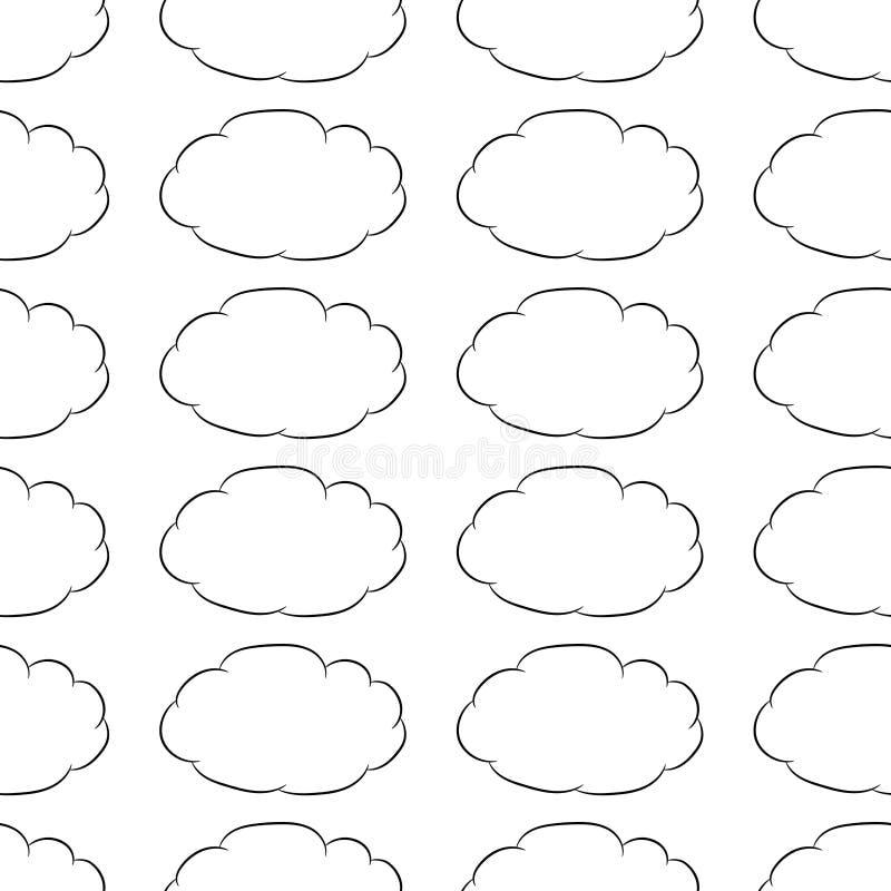 Modelo inconsútil del contorno del negro de la mosca del pensamiento de la nube en o blanco ilustración del vector