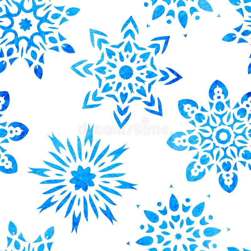 Modelo inconsútil del copo de nieve ilustración del vector