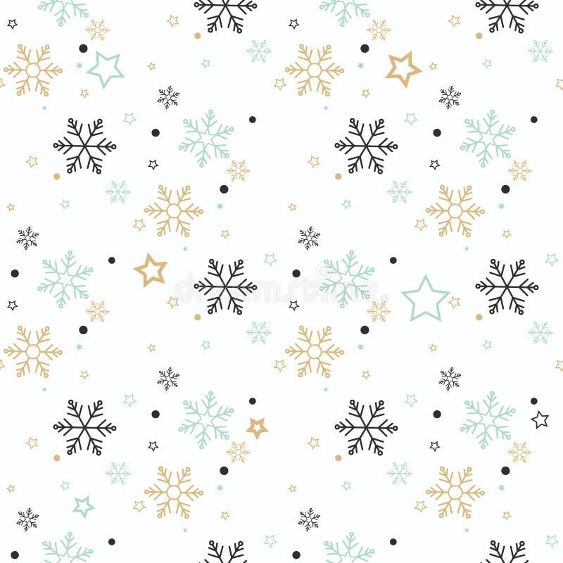 Modelo inconsútil del copo de nieve Nieve en fondo azul Papel pintado abstracto, envolviendo la decoración Invierno del símbolo,  stock de ilustración
